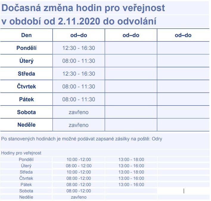 Pošta partner - provozní doba od 2.11.2020